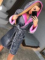 Женский короткий халат с запахом, фото 1