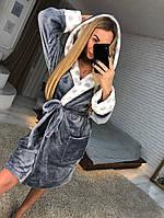 Красивый женский махровый халат с капюшоном