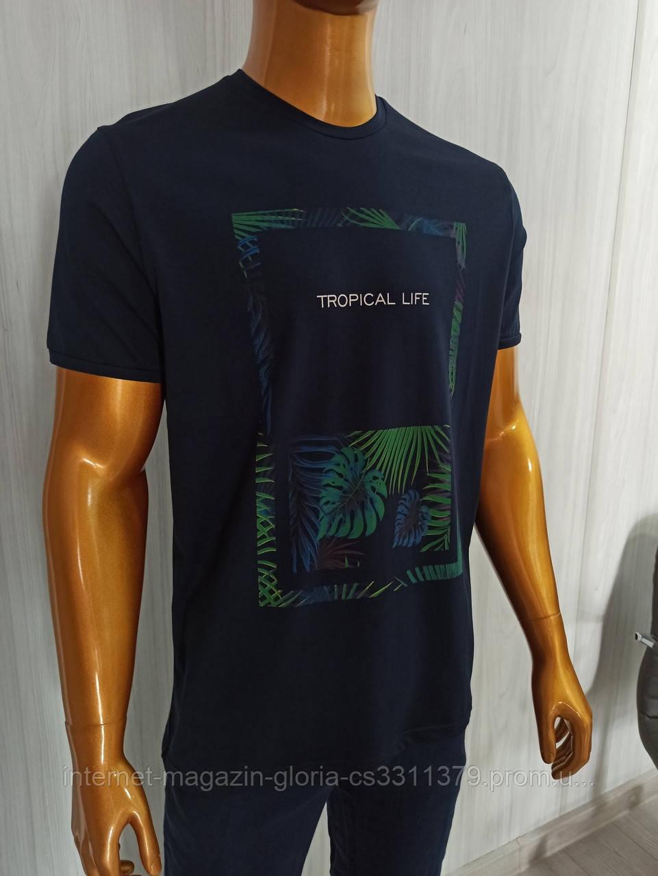 Мужская футболка Tony Montana. MSL-2066(тёмносиний). Размеры: M,L,XL,XXL.