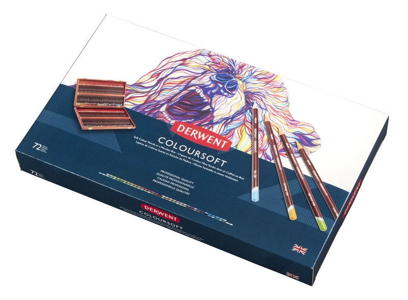 Карандаши цветные Derwent Coloursoft 72цв в дерев.пенале (5028252188975)