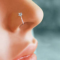 Пирсинг обманка для носа кольцо с кристаллом