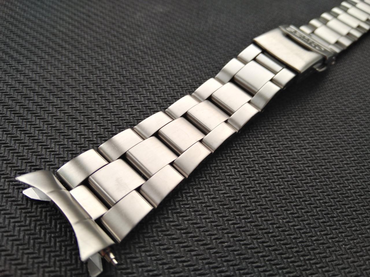 Браслет Oyster для часов с лого Seiko из нержавеющая стали, литой, мат. Заокругленное окончание. 20 мм