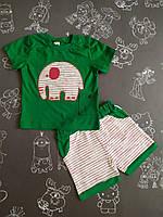 Детский летний костюм Слоник для мальчика на 6-18 месяцев