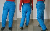 Детские теплые брюки на синтепоне для девочки / голубые