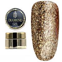 Diamond гель Milano 017, глиттерный гель моделирующий цветной гель с блестками, 8 гр
