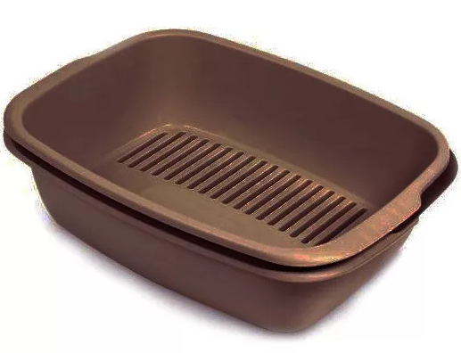 Туалет МИСО MISO пластиковый с сеточкой для кошек, 54 * 38 * 16 см, цвет коричневый