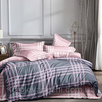"""Семейный комплект (Ранфорс)   Постельное белье от производителя """"Королева Ночи""""   Клетка на розовом и сером"""