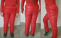 Детские теплые брюки на синтепоне для девочки / коралл