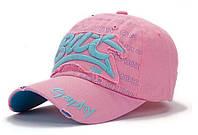 Фирменная розовая кепи с  голубыми надписями из хлопчатобумажной ткани