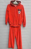 Велюровый костюм для девочки 5-8 лет LG оранжевый