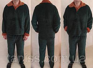Теплая зимняя мужская махровая пижама,  домашний теплый костюм, р-р Л (50-52), ХЛ(52-54), 2ХЛ (56-58)  зеленая