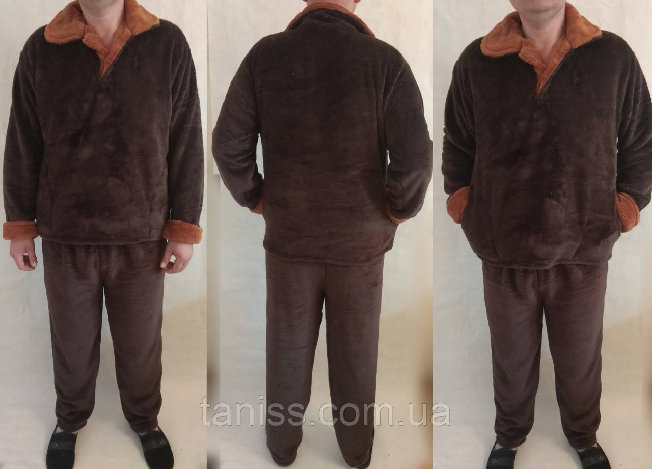 Теплая зимняя мужская махровая пижама,  домашний теплый костюм, р-р ХЛ(52-54), 2ХЛ (56-58)  коричн