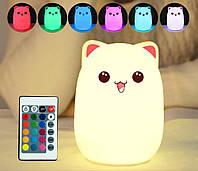 """Силиконовый ночник-игрушка """"Котик с розовыми ушками"""" с пультом ДУ Подарок на Новый год 2021"""