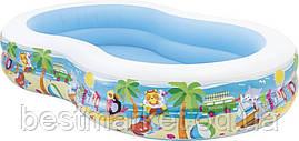 Надувний Дитячий Басейн для Плавання і Ігор Intex Райська Лагуна 262 х 160 х 46 см
