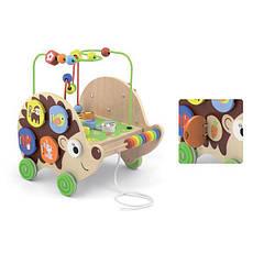 Деревянная каталка Viga Toys Ежик с бизибордом (50012)