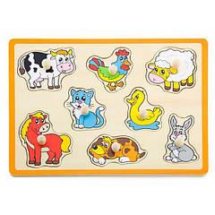 Дерев'яна рамка-вкладиш Viga Toys Домашні тварини (50017)