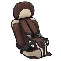 Автокресло детское для авто универсальное бескаркасное кресло для детей Антиштраф Top Top Коричневое (v6097)