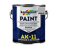 Краска для бетонных полов KOMPOZIT АК-11 акриловая серая,2,8кг