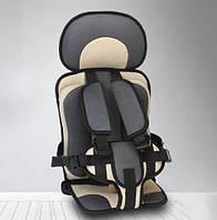 Автокресло детское для авто универсальное бескаркасное кресло для детей Антиштраф Top Trends Серое с бежевым