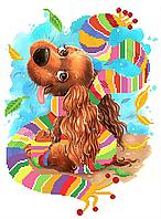 Радужный щенок . Схема вышивки бисером .