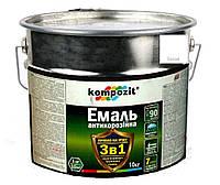 Эмаль-грунт акриловая KOMPOZIT 3 в 1 PROTECT для металла и оцинковки белая 10кг