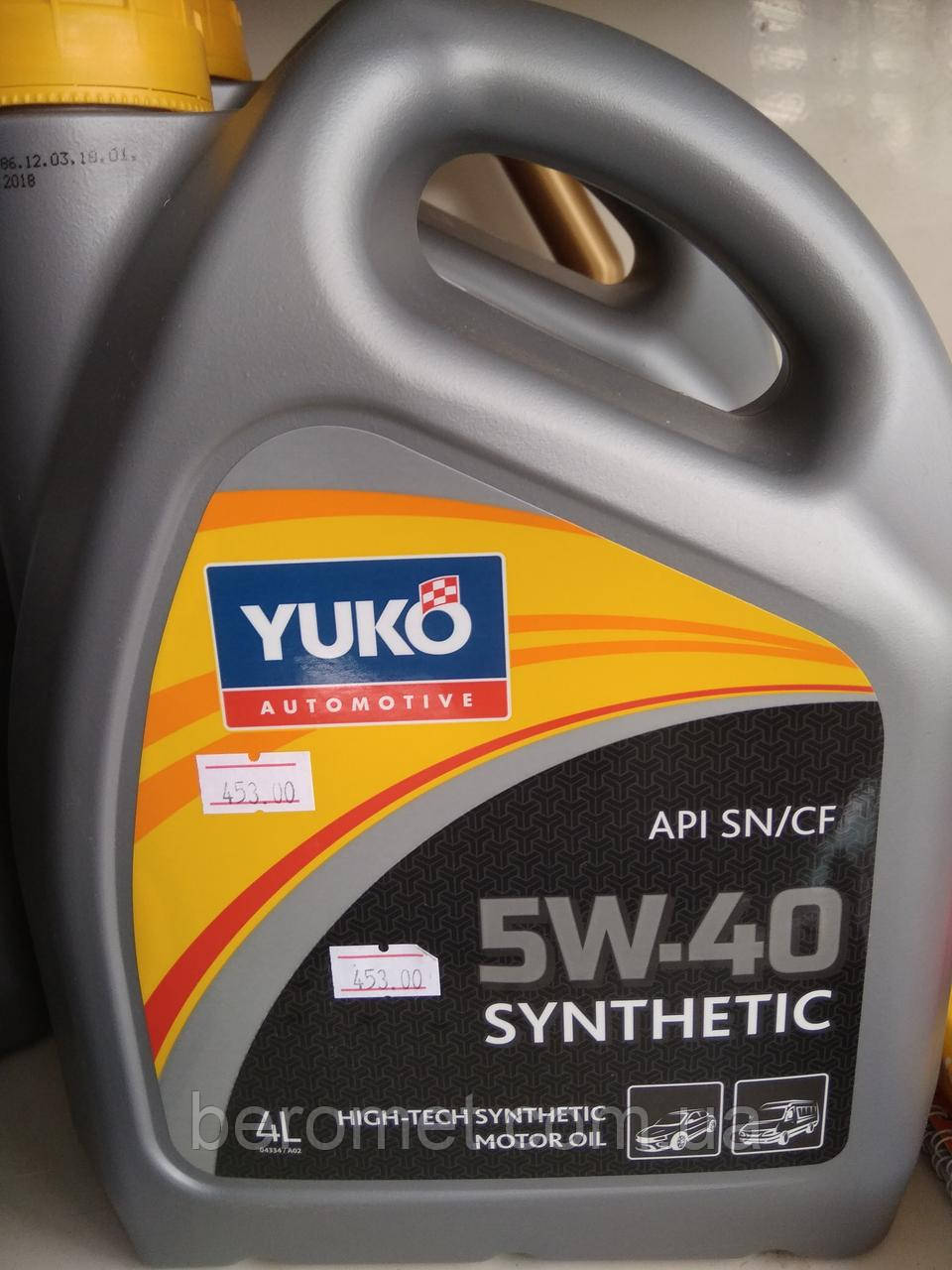 Олива моторна YUKO SYNTHETIC 5W-40  API SN/CF, каністра 4л  ПЕ