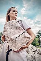 Рюкзак непромокаемый городской женский среднего размера с листочками