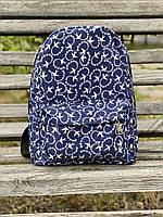 Рюкзак непромокаемый  городской женский среднего размера с ласточками синий