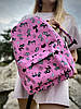 Рюкзак, що не промокає міський жіночий середнього розміру з котиками рожевий