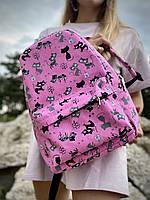 Рюкзак, що не промокає міський жіночий середнього розміру з котиками рожевий, фото 1