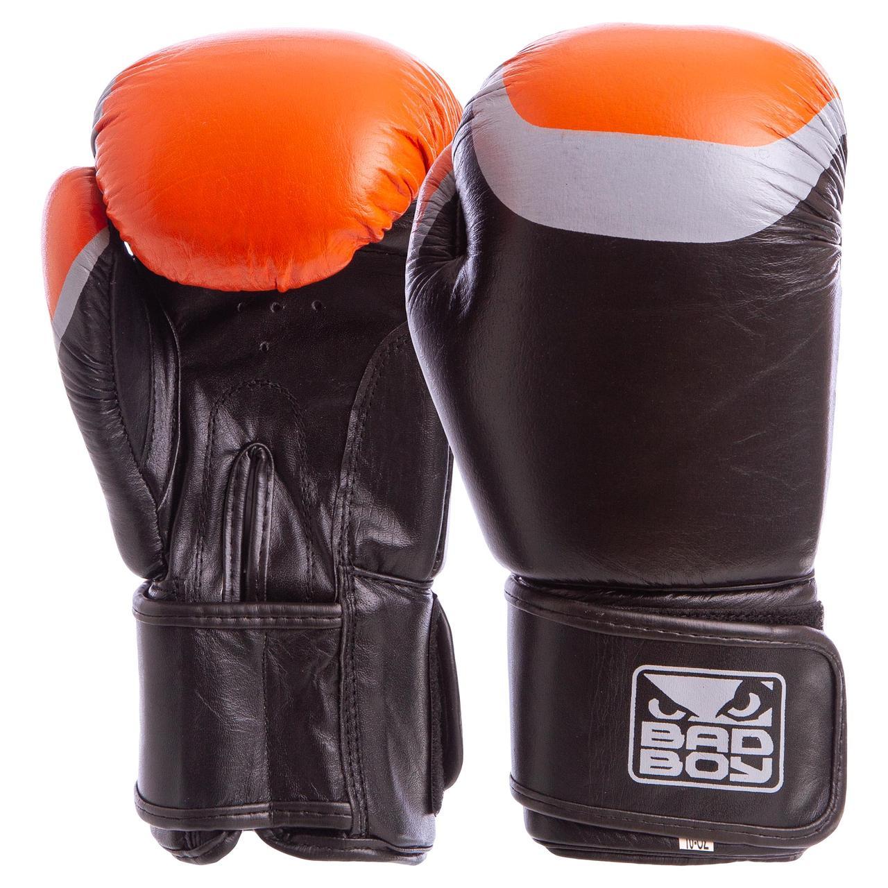 Боксерские перчатки кожаные на липучке BAD BOY (10OZ) MA-5433-BK2