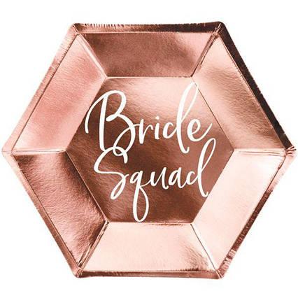 Тарелка Команда Невесты роз золото фольг 6шт