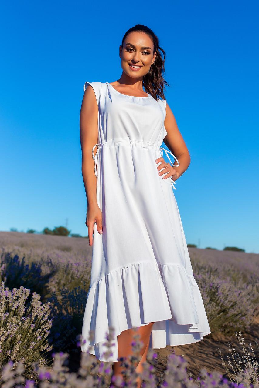 """Летнее льняное асимметричное платье """"Равенна"""" с воланом (большие размеры)"""