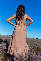"""Летнее льняное асимметричное платье """"Равенна"""" с воланом (большие размеры), фото 3"""