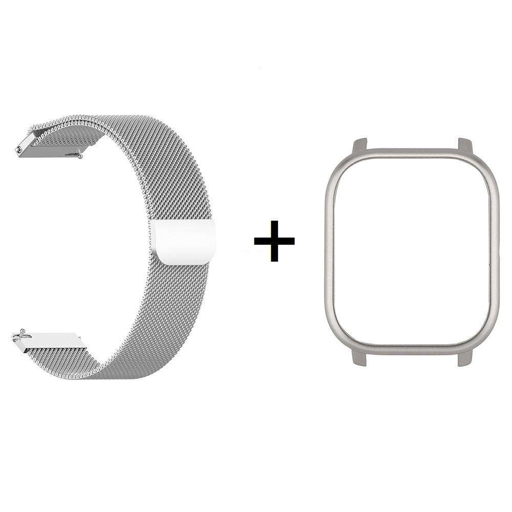 Amazfit GTS Комплект для смарт часов (металлический ремешок и бампер), Silver