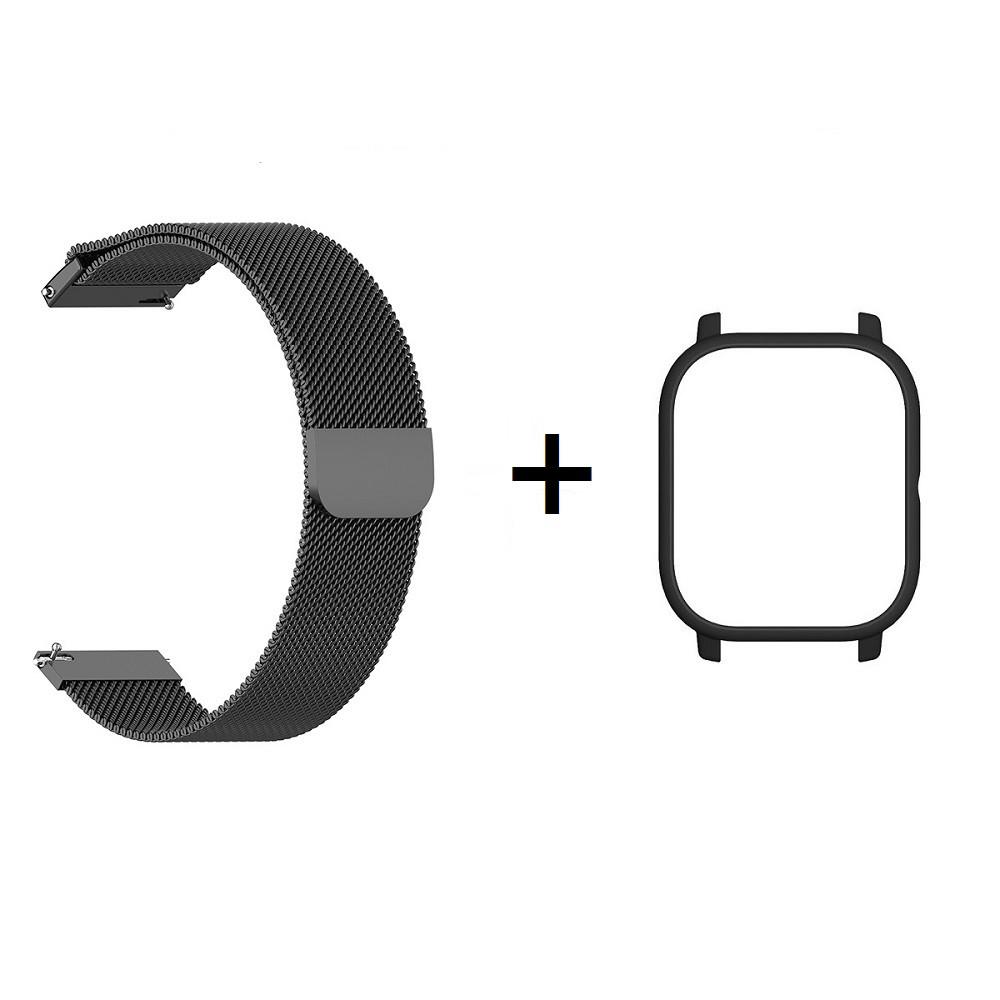 Amazfit GTS Комплект для смарт часов (металлический ремешок и бампер), Black