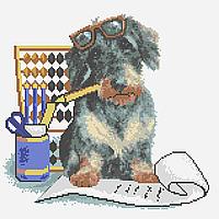 Собака бухгалтер. Схема вишивки бісером