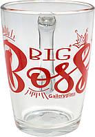 """Чашка скло 300мл """"Капучіно.Big Boss"""" мікс №07c1334/4247/П/П/Галерея(20)"""
