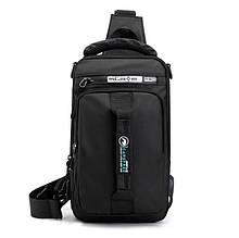 Однолямочний рюкзак сумка Mackros 1100 чоловічий міський вологостійкий чорний 4л