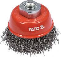 Щетка-чашка зачистная для УШМ из нержавеющей стали, 65 мм, M14, YATO