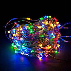 Гирлянда светодиодная нить LedGO Роса, Капли росы на проволоке 10 м, 100 LED на батарейках, мульти цвет