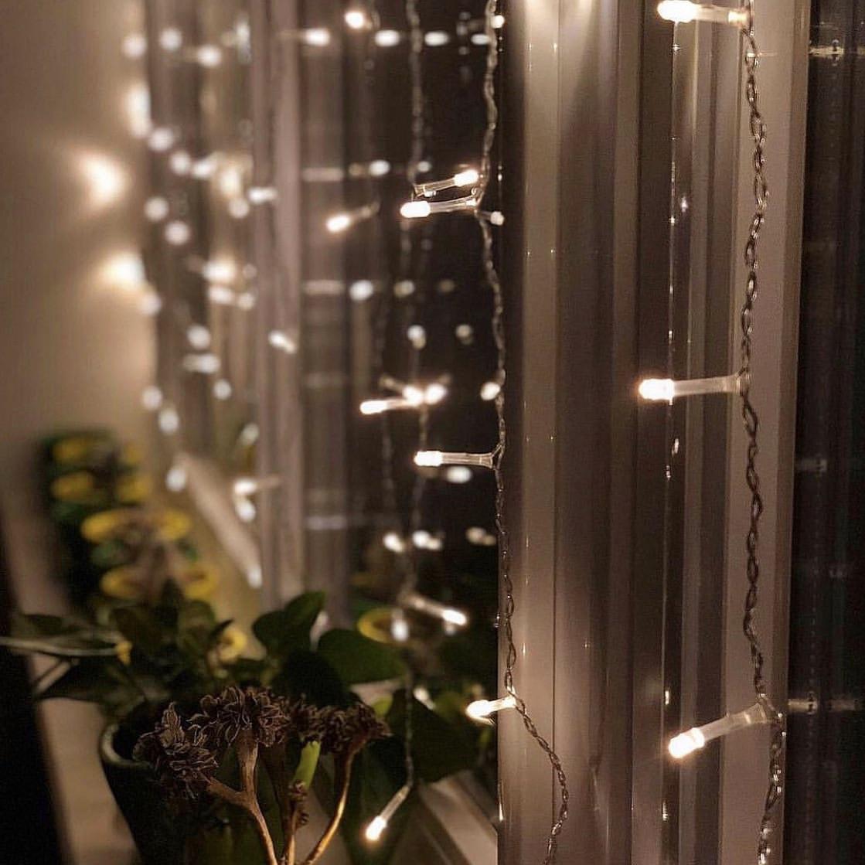 Гирлянда Водопад 3м х 1.5 м, 320 LED, Соединяемая (Штора, Занавес) + режим статики, теплый белый