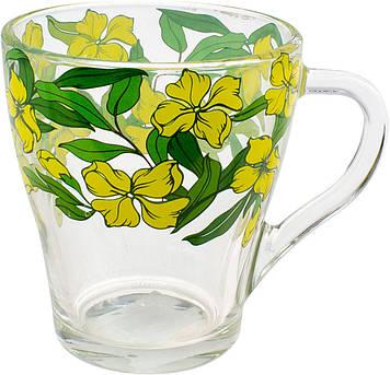 """Чашка скло 250мл """"Грація.Ніжні квіти"""" кругова деколь №85004227/Галерея/(20)"""