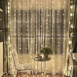 Гирлянда Водопад 3 х 2.5 м, 560 LED Соединяемая (Штора, Занавес, Curtain lights), теплый белый