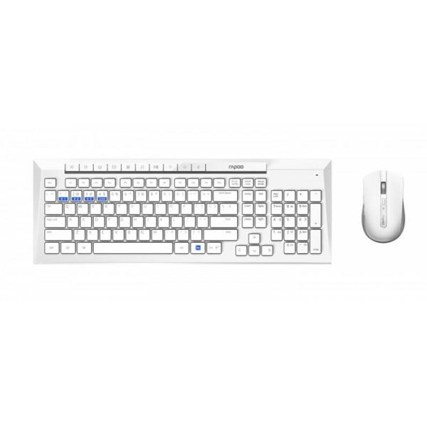 Комплект (клавиатура, мышь) Rapoo 8200m Wireless White