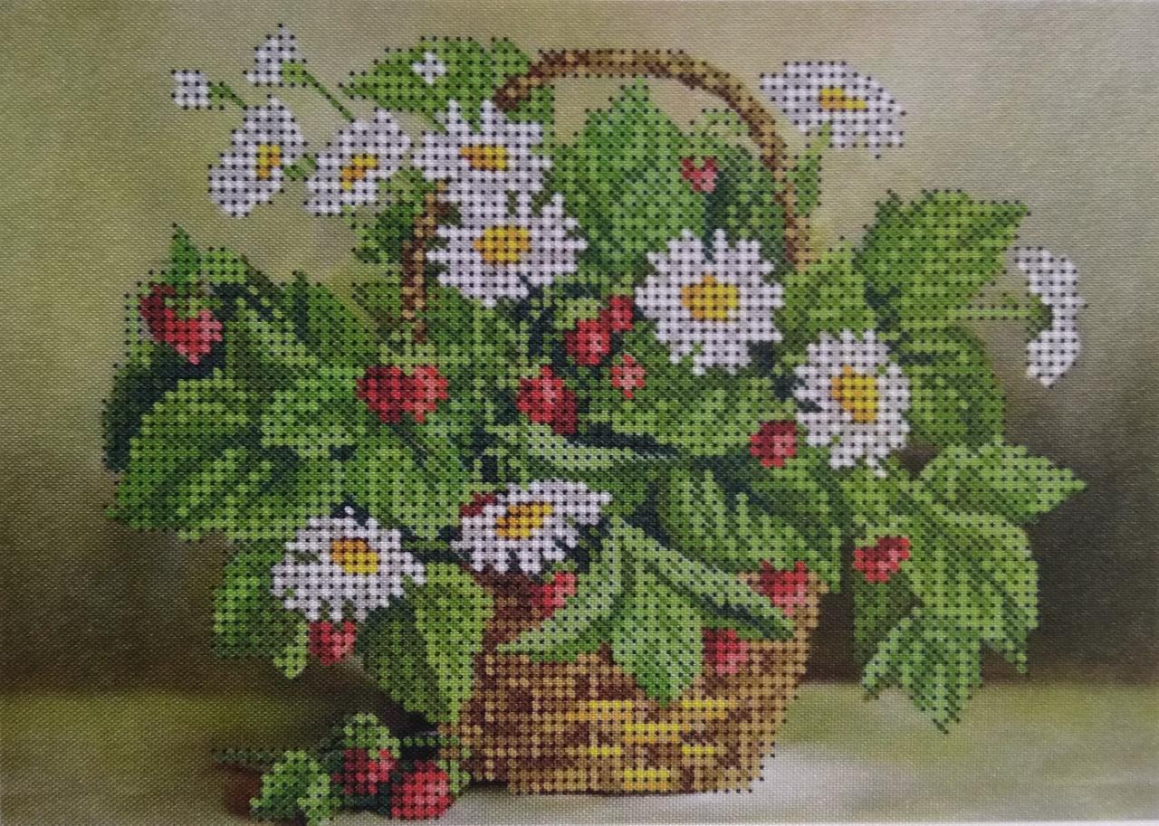 Набор для вышивки бисером Корзинка с ромашками Д 090