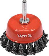 Щетка-чашка зачистная для дрели из стальных плетеных проводов, 65 мм, хвостовик 6 мм, YATO