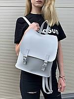 Сумка рюкзак мини женский на кнопках с клапаном из экокожи городской серый