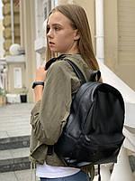 Рюкзак женский городской средний спортивный из экокожи непромокаемый черный