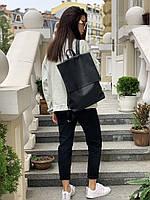Рюкзак женский с клапаном большой городской непромокаемый из экокожи черный
